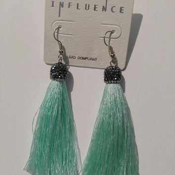 Tread Tassel Earrings - Mint