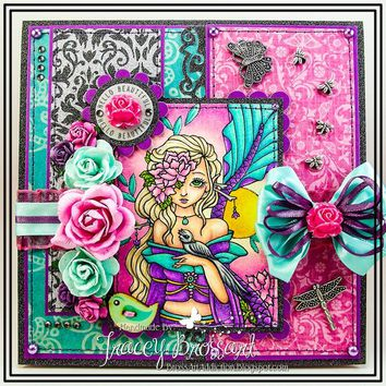 Handmade Friendship Encouragement Greeting Card / OOAK - Hello Beautiful - Handcrafted 3D Fantasy Mermaid Girly Flower