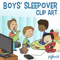 Boys Sleepover Clip Art | Slumber Party | DVDs, Videogames, Sleeping Bag, Soda