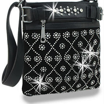 Black Rhinestone Design Cross Body Sling Handbag M