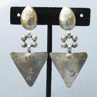 Hammered Pewter 1980's BIG Dangle Vintage PUNK Earrings