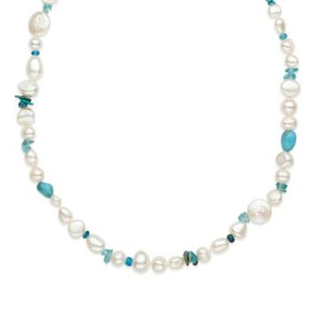 Honora Sterling Silver Gemstone, Turquoise and Freshwater Cultured Pearl 18-Inch Strand Necklace