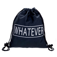 Drawstring Backpack in lettering whatever pattern in black color for custom backpacks