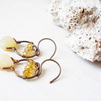 Yellow peruvian opal briolette earrings, faceted citrine fire polished glass crystals, rustic jewelry, brass horseshoes, artisan metalwork
