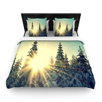 "Robin Dickinson ""Shine Bright"" Snowy Trees Woven Duvet Cover"