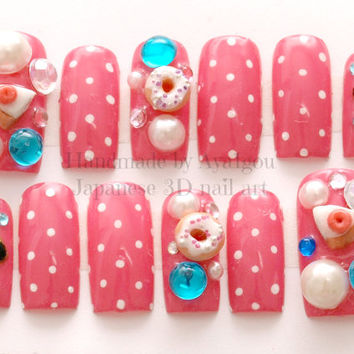 Nails, deco nails, kawaii nails, 3D nails, Japanese nail, donut, pie, cake, cookie, polka dot, pink, sweet lolita, fake sweets, cute nail,