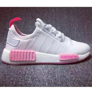 Adidas NMD Trending Leisure Running Sports Shoes white pink logo