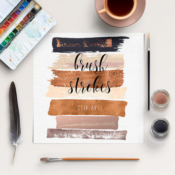 Brush Stroke Clip Art | Copper, Gold Rose Clipart | Hand Painted Clip Art | Acrylic Brush Strokes | Paintbrush Strokes | BUY5FOR8