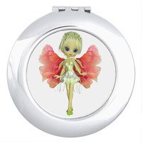 Pink Wing Fairy Compact Mirror
