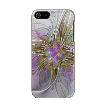Floral abstract and colorful Fractal Art Metallic Phone Case For iPhone SE/5/5s