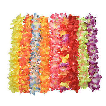 Hawaiian Leis Simulated Silk Flower Leis Party Dance   Dress Garland 8 Color HU