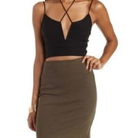 Black Plunging Strappy Crossover Crop Top by Charlotte Russe