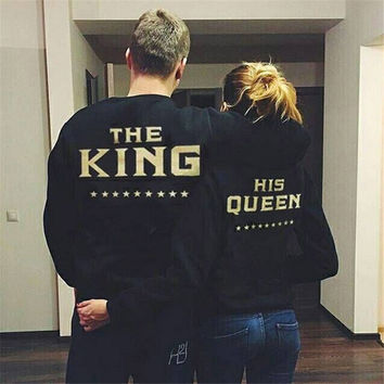 Women Men Couple Lovers Black Long Sleeve Casual Loose Sweather Shirt Pullover The King His Queen Letter On The Back