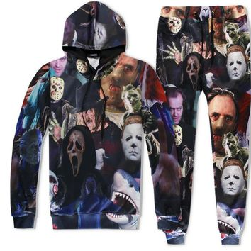 Horror Movie Killers Michael Myers Hellraiser Hannibal Lecter print Joggers Tracksuit Unisex Pants + Hoodie Sweatshirts Outfit