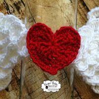 White Angel Wings with Red Heart Crochet - Wings, Angel, Red Heart, Newborn, Crocodile Stitch Wings, Photography Prop Boy. Girl.