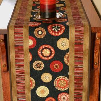 Boho Chic Quilted Table Runner in Bold Modern Suzani Prints Black and Red