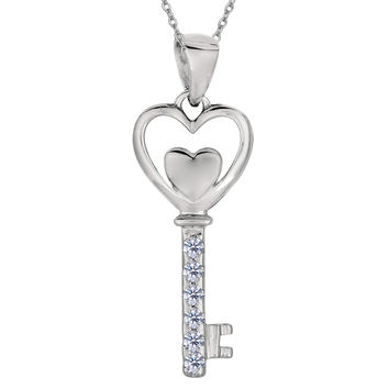 Sterling Silver Rhodium Plated Finish Double Open Heart Key Necklace With CZ - 18 Inch