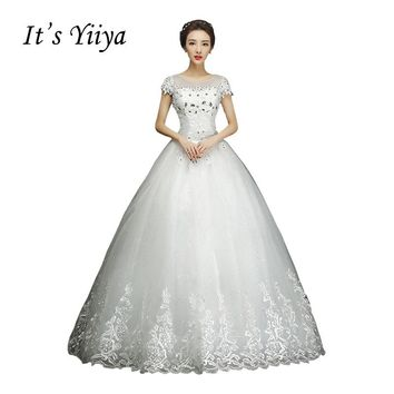 Free shipping YiiYa 2016 White Wedding Dresses Bride Princess Ball Gowns Bridal Vestidos De Novia Frocks Short Sleeves XXN146