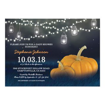 Fall Pumpkin Outdoor Blue Baby Shower Card