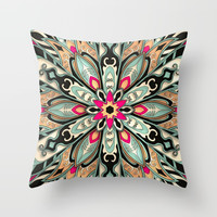 Tribal Geometric brown and green Mandala Throw Pillow by maria_so