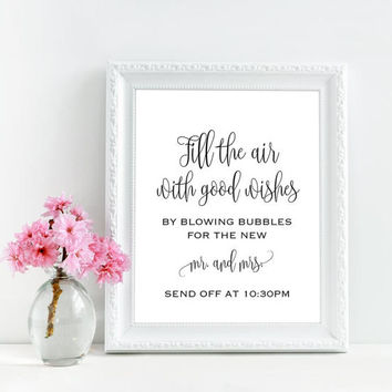 Bubbles wedding sign, Bubble send off sign, Personalized wedding printable, Wedding bubbles, Blow bubbles sign, Rustic chic wedding decor