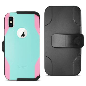 iPhone X 3-In-1 Hybrid Heavy Duty Holster Combo Case In Mint Green