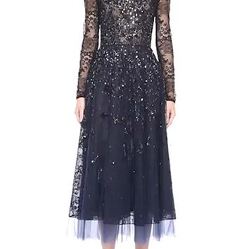 Oscar de la Renta Illusion Yoke Hand Beaded Lace Dress | Nordstrom