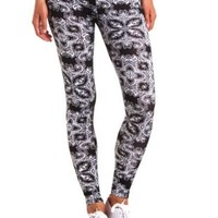 Cotton Baroque Printed Leggings by Charlotte Russe - Black/White