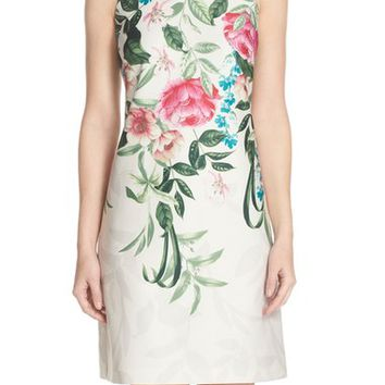 Eliza J Placed Floral Print Stretch A-Line Dress (Regular & Petite) | Nordstrom