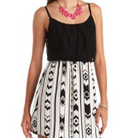 Crochet & Printed Chiffon Blouson Dress - Black Combo