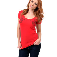 Red & Black Short Sleeve Sparrows Knit Tee