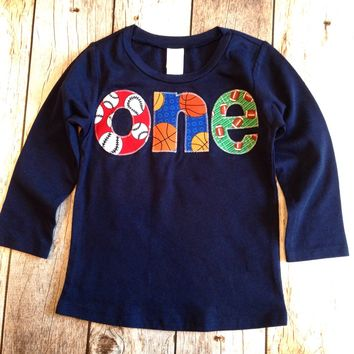 one boys 1st Birthday Shirt Boy Party sports football basketball baseball ball team trophy first birthday 1 year old soccer navy long sleeve