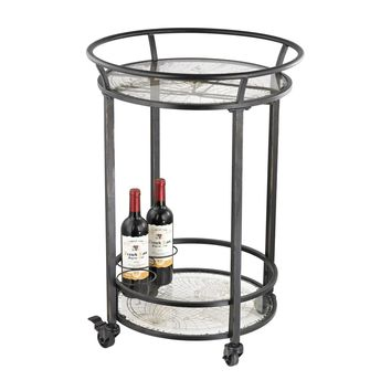 World Map Bar Cart Black With Gold Print On Glass