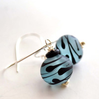 Blue Lampwork Glass Earrings by bstrung on Etsy