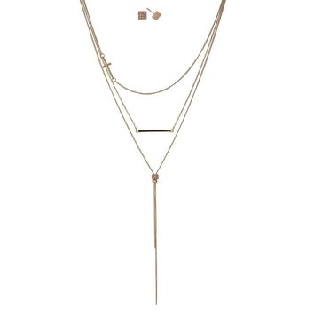 Dainty Gold Tone 3 Layers Necklace with a Cross Pendant & Matching Earrings