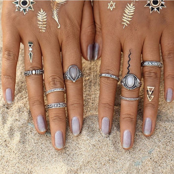Vintage 8 Pc Bohemian Beach Opal Ring Set