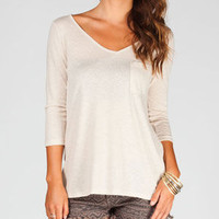 Full Tilt Open Back Womens Pocket Tee Oatmeal  In Sizes