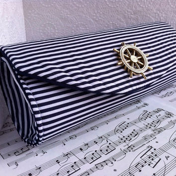 Blue and white striped nautical clutch bag with gold ships wheel. Made to order