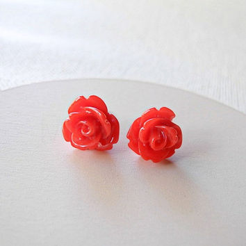 Red Rose Earring Studs - Red Jewelry - Red Flower Earring Posts - Floral Jewelry