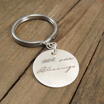ACTUAL Handwriting Keychain - Sterling Silver Personalized Key Chain - Father's Day Gift