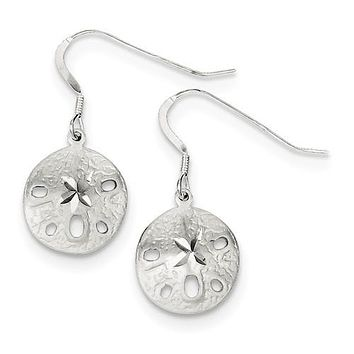 925 Sterling Silver Sand dollar French Wire Earrings