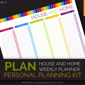 House and Home Weekly Planner Checklist, To Do List, Schedule || Editable DIY Colorful Planner Binder Organizer || Household PDF Printables