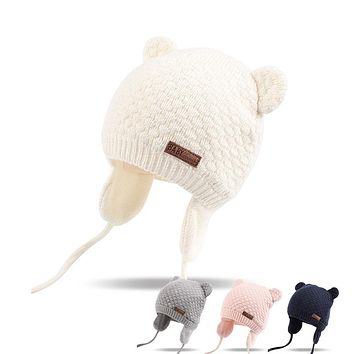 Bear Ears Cute Baby Hat Soft Cotton Newborn Baby Beanie Double Layer Warm Winter Hat For Baby Girls Boys Knitted Kids Hats New