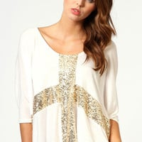 White Cross Sequined Blouse
