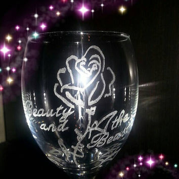 Beauty and the Beast Rose Engraved Wine Glass - free personalisation