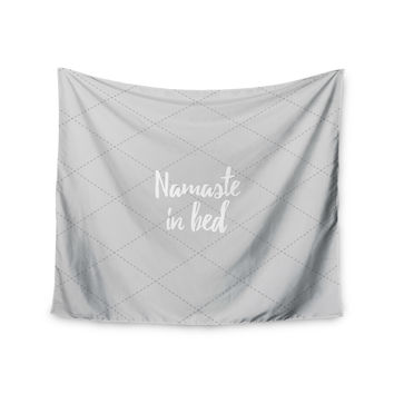 "KESS Original ""Namaste In Bed Grey"" White Gray Wall Tapestry"