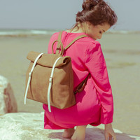 FREE SHIPPING Rucksack / backpack with roll up top- Brown