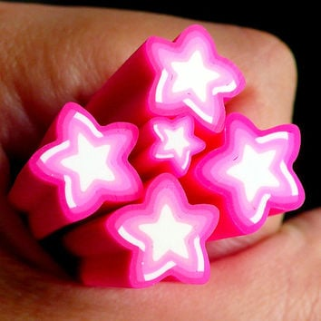 Big Pink Star Polymer Clay Cane Kawaii Star Fimo Cane (LARGE/BIG) - Miniature Sweets, Jewelry Beads, Earring Making, Scrapbooking BC43