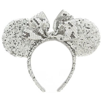 Minnie Mouse Ear Headband - Silver Sequins | Disney Store