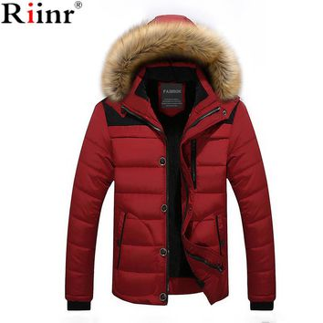 Riinr Winter Thick Warm Male Jackets Parka Hooded Casual Wadded Outerwear Fashion Faux Fur Hood Padded Quilted Men Jacket Coat